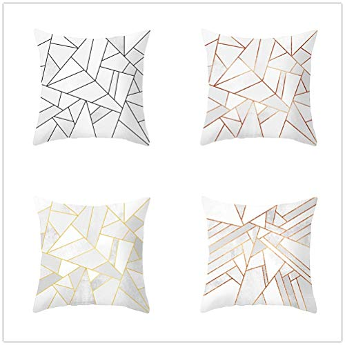 Set of 4 Pcs Throw Pillow Case Cushion Covers Geometry Velvet Soft Superfine Fiber Square Decorative Throw Pillowcases for Living Room Sofa Bedroom Car with Concealed Zip E4844 60x60cm/23.4x23.4in