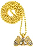 GWOOD Game Controller Small Pendant Necklace Gold Color with 27 InchGold Color Ball Chain