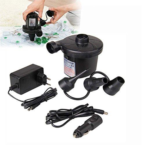 DQMEN Pompe à air électrique,Gonfleur Pompe à air électrique Portable, Pompe gonfleur électrique AC 220-240V, Gonfleur/Dégonfleur Electrique avec 3 Buses pour Airbed, Piscine, Lit Flottant,Matelas