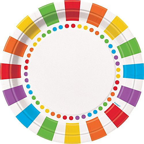 Unique Party 47115 - 23cm Rainbow Party Plates, Pack of 8