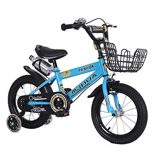 """FUFU Bicicletas For Niños, Niños Y Niñas Bicicletas, Tamaños 14"""", 3 Colores, con Estabilizador Y El Soporte, Blanco, Amarillo, Azul (Color : Blue)"""