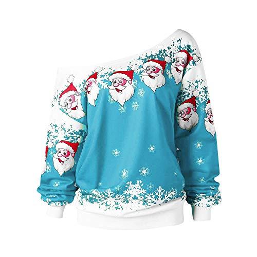 BOLANQ Women's Christmas Tops Frauen Rollkragen Langarm Tartan Tops Sweatshirt Pullover Tops(Large,Himmelblau)