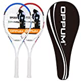 oppum 2 Players Tennis Rackets - 27 inch, Student Adult Women and Men Beginners Rackets Training Tennis Racquets - 4 3/8 Inch Grip (2pcs Rackets (Blue+Red))