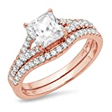 2.01ct Princess Cut Pave Solitaire Accent Lab Created White Sapphire & Simulated Diamond Engagement Promise Statement Anniversary Bridal Wedding Ring Band set Curved Real 14k Rose Gold Sz 6.5