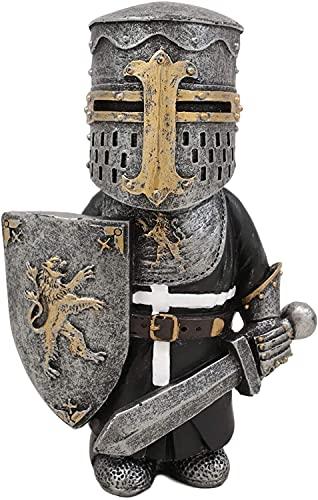 Chagoo Knight Gnomes Guard, Kreuz Templer Kreuzritter Figur Hohe Rüstung Miniatur Europäische Ritter Skulptur Dekor Machen Sie Ihren Garten schöner (Schwertkämpfer mit Löwenwappenschild)