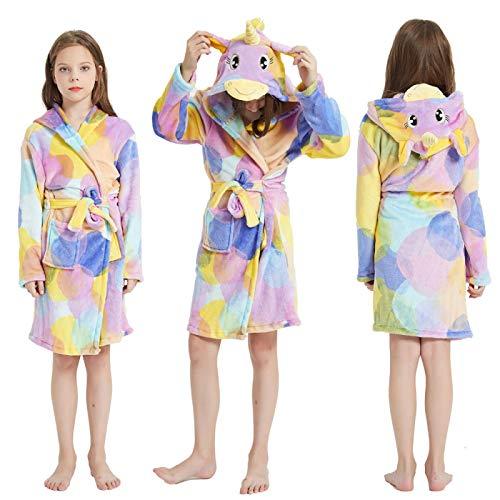 LEYUANA Kinder Flanell Bademantel, für Mädchen Pyjamas Kinder Jungen Strandtuch Kinder Bademäntel Handtuch Nachtwäsche Nachthemden 140CM LR10