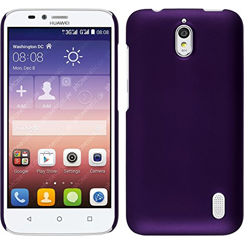 PhoneNatic Case kompatibel mit Huawei Y625 - Hülle lila gummiert Hard-case + 2 Schutzfolien