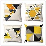 HXZ Funda de Cojine cuadradas Funda de Almohada Set de 4 Geometría Amarilla Simple Cremallera Oculta Throw Pillow Case para Cojín Sofá Camas Dormitorio Coche,Linen(60x60cm/24x24inch)
