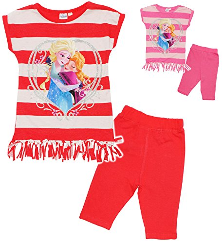 alles-meine.de GmbH 2 TLG. Set _ Fransen T-Shirt / Top & Kurze Hose -  Disney Frozen - die Eiskönigin  - Größe: 8 Jahre - Gr. 140 - als Sommerset / Strandbekleidung / kurzer Py..