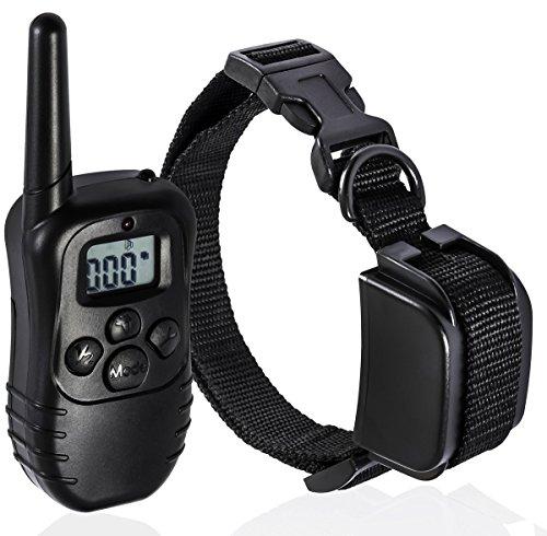 Traxandco collier de dressage anti aboiement pour chien etanche portee 300M avec télécommande numérique à LCD écran 1 à 1 Récepteur Etanche