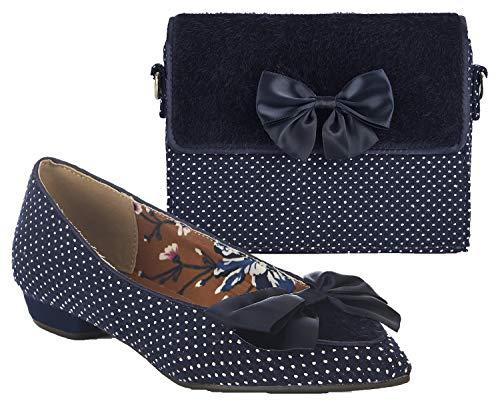 Ruby Shoo Women's Navy Spot Cora Pointed Flat Shoes & Matching Mandalay Bag...