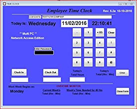 Small Business Network, Employee Time Clock Software, MULTIPLE PC Access license on a Network, Up to 100 Employees, No Monthly Fees! (Windows Vista,7,8,10)