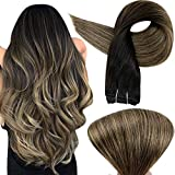 Full Shine 18 Inch Remy Human Hair Weft Weave in Extensions Straight Hair Balayage Color 1B-6-27 Black Fading to Brown and Honey Blonde Balayage Hair Bundles 100 Gram Per Pack Double Weft Sew in Wefts