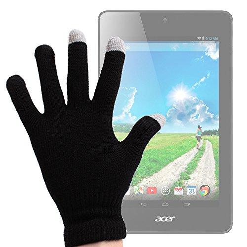 DURAGADGET Guantes Pantalla Táctil Talla L para Acer Iconia One 7 B1-730 - 3 Dedos Táctiles - Color Negro - Tejido