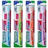 GUM Technique PRO Cepillo de Dientes / Filamentos cónicos / Limpieza profunda y eficaz incluso en espacios interdentales / Cabezal compacto / Filamentos de dureza media / Multicolor / 4 unidades