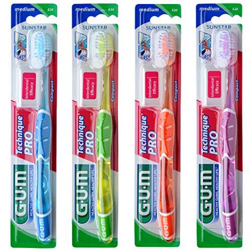 GUM Technique PRO Zahnbürste Kompakt Medium/Mikrofeine Borsten-Enden für eine gründliche und schonende Plaqueentfernung im Zahnzwischenraum und unter dem Zahnfleischrand / 4 Stück