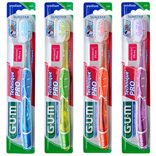 G.U.M Technique PRO Zahnbürste Kompakt (4 Stück) (Medium)