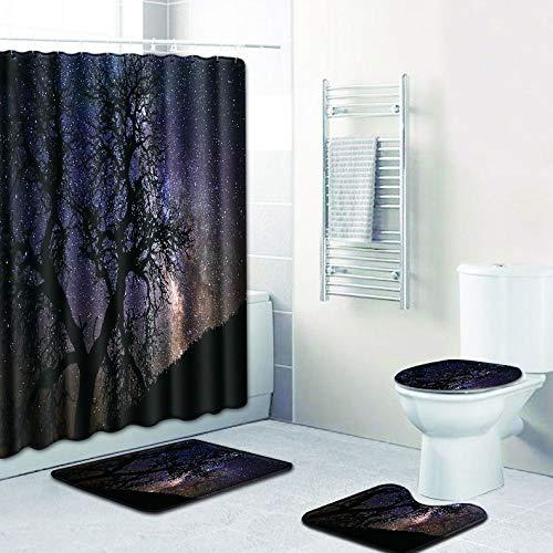 WANJIA Rutschfestes Badezimmer-Set, Duschvorhang + Badematte + U-förmige Badematte + WC-Abdeckung 4 Kombinationen+12 Haken für Duschvorhänge. 45 * 75cm W180619-D021