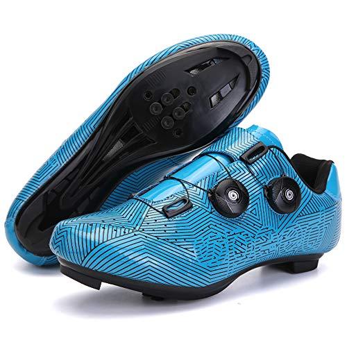 KUXUAN Zapatillas de Ciclismo para Hombre Zapatillas de Bicicleta de Carretera con Zapatillas SPD Peloton con Hebilla Delta Compatible para Carreras de Equitación en Interiores,Blue-6UK=(245mm)=39EU