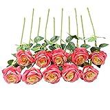 JUSTOYOU Ramo de Rosas Artificiales de Seda arreglos Florales para el hogar, la Oficina o Las Bodas.
