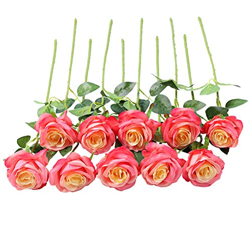 JUSTOYOU Bouquet di Fiori di Seta Rosa Artificiale Home Office Composizioni di Nozze Rosa (10 PZ)