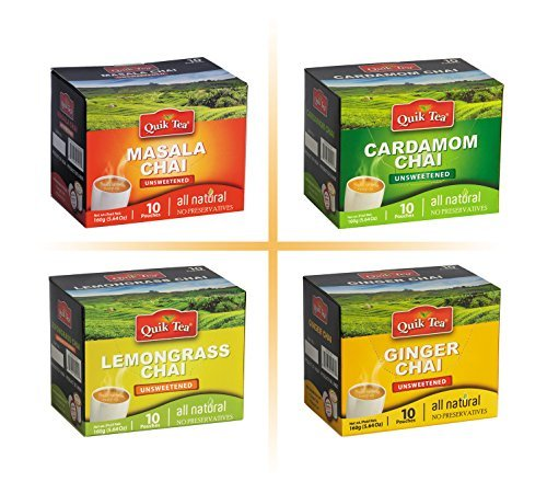 gift QuikTea 4 Flavors Unsweetened Variety Cardamom Masala Pack Ging Max 64% OFF