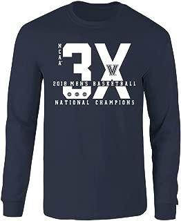 Elite Fan Shop Villanova Wildcats Championships Long Sleeve T Shirt Basketball 2018 Navy 3X