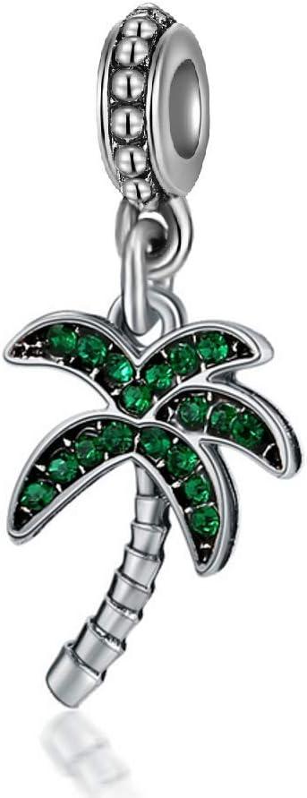 Dangle Green Crystal Coconut/Palm Tree Charm Bead