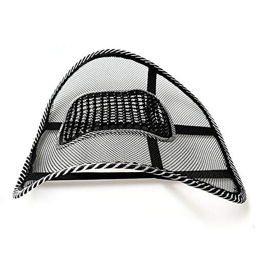 QACFD Cojín de Asiento ventilado Fresco Respaldo de Malla Soporte Lumbar Oficina de Coche Asiento de casa Negro