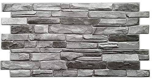 Pannelli da parete in PVC, piastrelle decorative 3D, colore: grigio