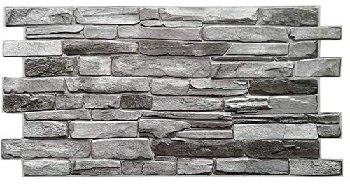 PVC Plastic Wall Panels 3D Decorative Tiles Cladding - Grey Stone (Pack 12 pcs/5.88 sqm)