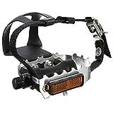 SODIAL(R) Alu Pedal 2 x Alu Fahrrad Mountainbike Schlaufenpedal Pedalhaken mit Korb Riemen + Pedale