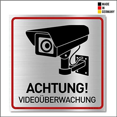 Achtung Videoüberwachung Schild (20x20 cm Alu) - Gebürstets Aluminium - Warnschilder und Hinweisschilder - Videoüberwacht Schilder (Metall) - V2