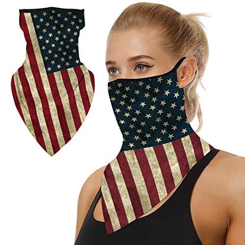 Summer Face Mask,WXXM Neck Gaiters Face Bandana Ear Loops Face Balaclava Scarf Women Men for Sun UV Dust Wind Protection Headwear Bandana Face Mask Neck Gaiter,Tube Mask,Face Scarf American Flag