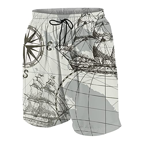 SUHOM Uomo Casuale Pantaloncini da Surf,Mappa del Mare Disegnata A Mano con Bussola E Veliero,Asciugatura Veloce Costume da Bagno Sportivo Abbigliamento da Spiaggia con Fodera in Rete