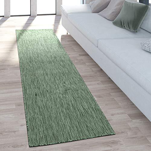 Paco Home In-& Outdoor Teppich Balkon Terrasse Küchenteppich Einfarbig Meliertes Muster, Grösse:80x150 cm, Farbe:Grün