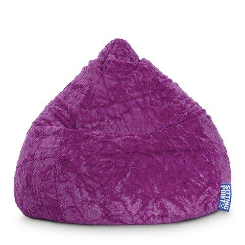 lifestyle4living Sitzsack aus Webplüsch in lila, Beanbag Fluffy XL, Material 100% Polyester, Füllung aus 100% EPS-Perlen, 220 l Volumen, Maße B/H ca. 70/110 cm