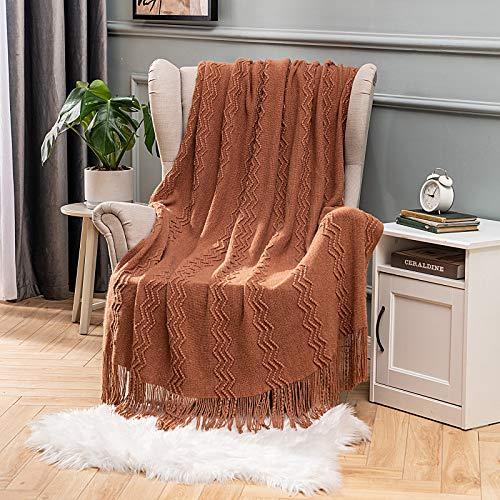 MIULEE Kuscheldecke Welle Fleecedecke Decke Weich Flauschig Einfarbig Wohndecken Couchdecke Sofadecke Blanket für Bett Sofa Schlafzimmer Büro, 125x150 cm Orange