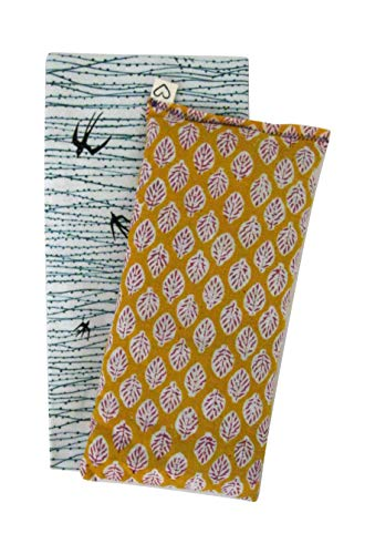Peacegoods Eye Pillow Gift Set - Scented with Cover - Lavender Flax - Washable Cotton Cover - Soothing Relaxing - leaf paisley yellow birds green