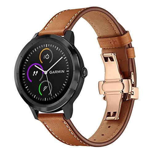 XZZTX Compatibel met voor Garmin Vivoactive 3 Horlogeband, 20mm Echt Lederen Vervangende Band Polsbanden met Rose Gold Butterfly Gesp voor Vivoactive 3 / Vivomove HR Smartwatch