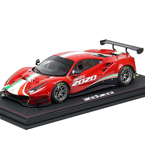2020 Ferrari 488 GT3 Rosso Corsa 322 Red with Green and Red Stripes with Display CASE Limited Edition to 128 Pieces 1/18 Model Car by BBR P18187