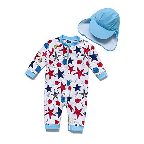 BONVERANO Säuglingsjunge EIN stück 3/4 der ärmellänge UV-Schutz 50+ Badeanzug MIT Einem Reißverschluss (Blue Starfish, 86-92)