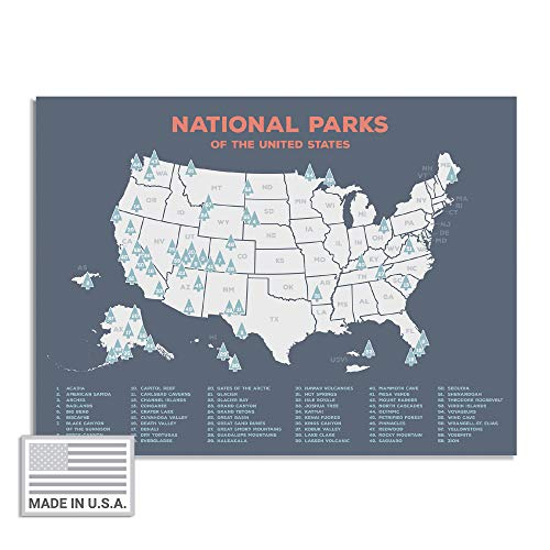 "Kindred Sol Collective USA National Park Map (24"" x 17"") - Educational National Park Poster of All 61 US National Parks – US Adventure Map Wall Art Gift - Made in The USA on Heavy-Duty Cardstock"