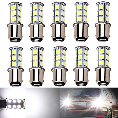 BlyilyB 10-Pack 6500K White 1157 2057 2357 7528 BAY15D LED Bulbs 5050 18-SMD Replacement Lamps for 12V Interior RV Camper Trailer Lighting Back Up Reverse Lights or Tail Brake Lights