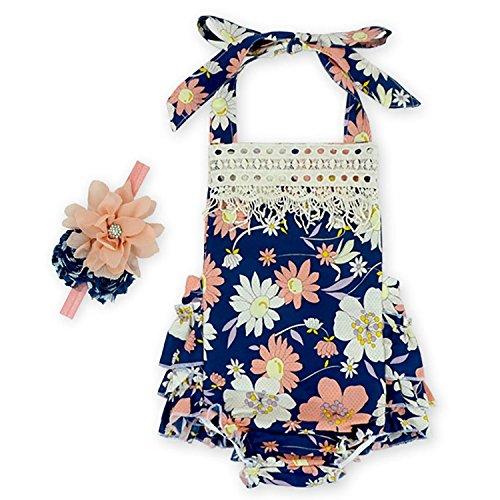 D.LIN Baby Girl's Ruffles Tassel Romper Dresses+Headband Outfits Summer Clothing Flower 8 12 Months