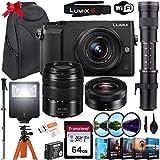 Panasonic Lumix DMC-GX85 Mirrorless Micro Four Thirds Digital Camera with 12-32mm and 45-150mm Lenses & 420-800mm Telephoto Lens + 64GB Memory Card, Backpack, Flash, Editing Software Kit & More