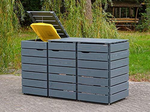 3er Mülltonnenbox / Mülltonnenverkleidung 240 L Holz, Deckend Geölt Tannengrün - 3