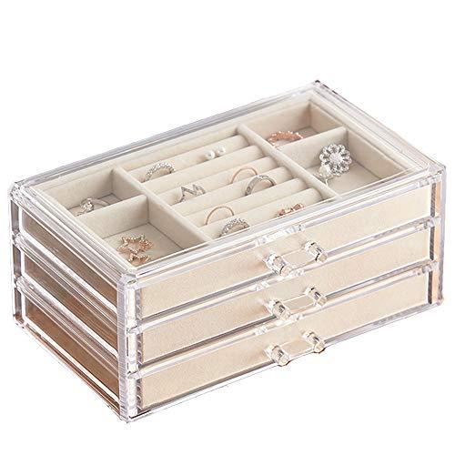 HerFav Scatola Portagioie Donna con 3 Cassetti Trasparenti per Anelli, Collane, Braccialetti e Orecchini Organizer Gioielli