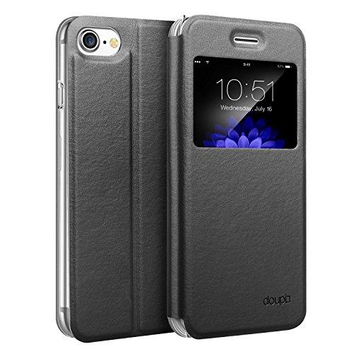 doupi FlipCase für iPhone 8/7 (4,7 Zoll), Deluxe Schutzhülle mit Sichtfenster Magnet Verschluss Klappbar Book Style Aufstellbar Ständer, schwarz