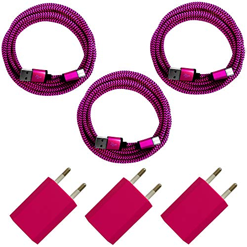 [i!®], 3 x USB-voeding, 5 V/1 A, 3 x premium nylon, USB-oplaadkabel, datakabel, laadapparaat, set voor alle USB-C-apparaten, smartphone, tablet, Samsung Galaxy S10 S9 S8 Plus, bont 2m 3 x roze.